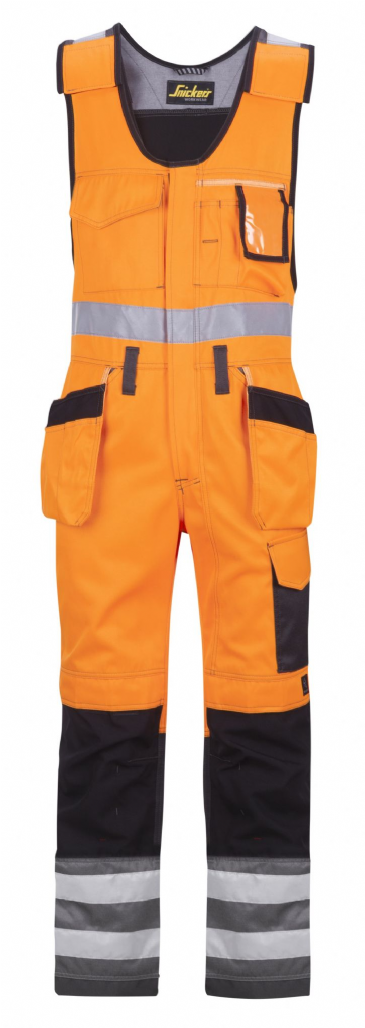 Snickers 0213 High-Vis One-piece Holster Pocket Trousers, Class 2 (High Vis Orange / Muted Black)